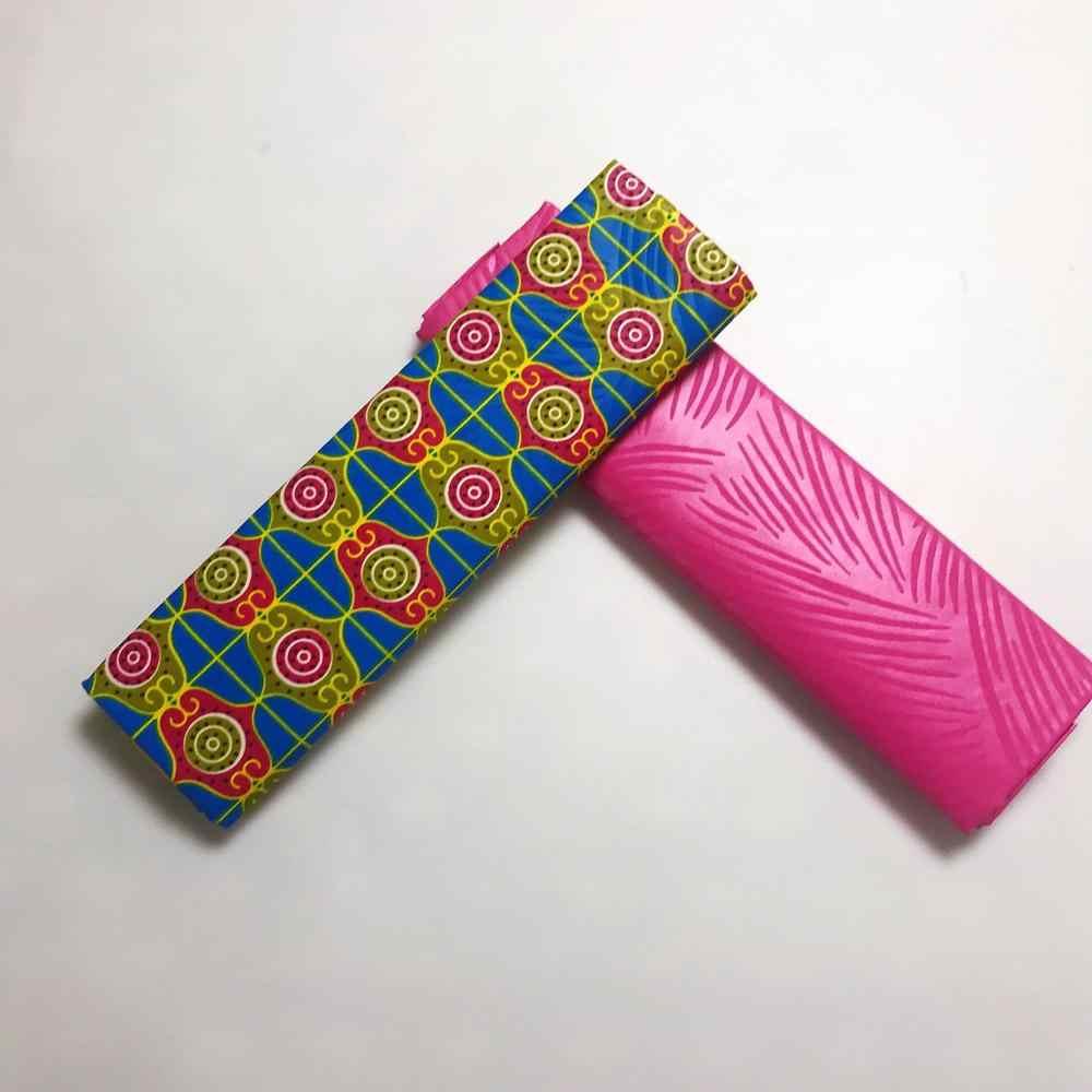Geel Polyester Wax Chitenge Ghana Ankara Kente Wax Stof Afrikaanse Kitenge Print Stof Voor Doek In 2 + 2 Yards AW30
