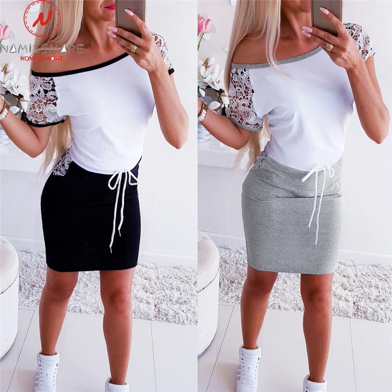 Fashion Women Mini Dress Color Matching Design Pockets Decor O Neck Short Sleeve Pencil Dress Elegant Lady Slim Bandage Dress