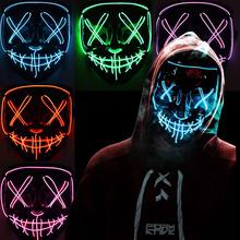 Neonowa maska LED zapalają maski imprezowe rok wyborów czystek świetne śmieszne maski festiwal przebranie na karnawał dostarcza blask ciemne rekwizyty tanie tanio Nakrycia głowy Wakacyjny Unisex Dla dorosłych Akcesoria Glowing mask Kostiumy Color OPP Bag Party Party LaTeX Average Size