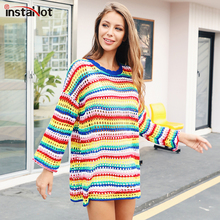 цена на InstaHot Rainbow Sweaters Mock-Neck Women Autumn Oversize Jumpers Knitted Striped Pullover Casual Holds Loose Sweater Female