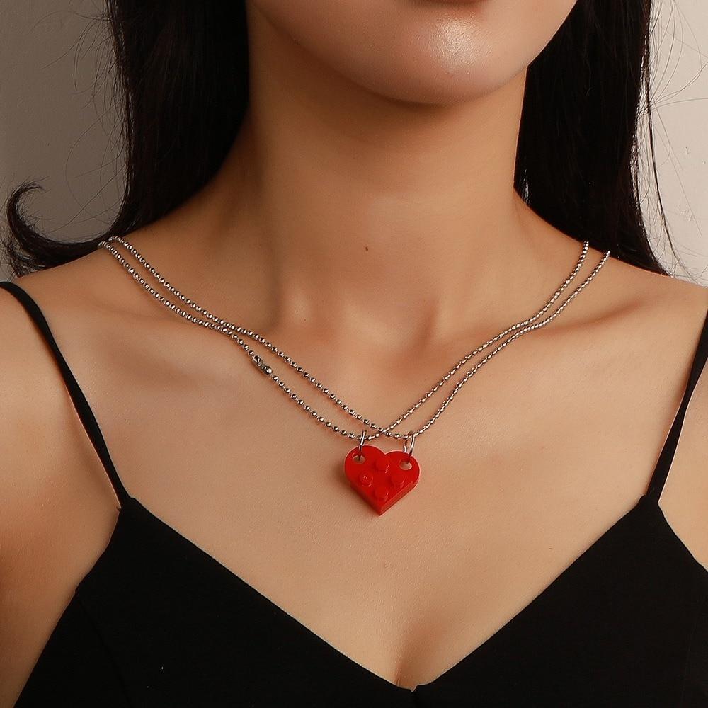 2 pezzi perline collana a catena costruzione di mattoni amore cuore ciondolo collana per donna uomo coppia 2021 regalo di san valentino collane alla moda 2