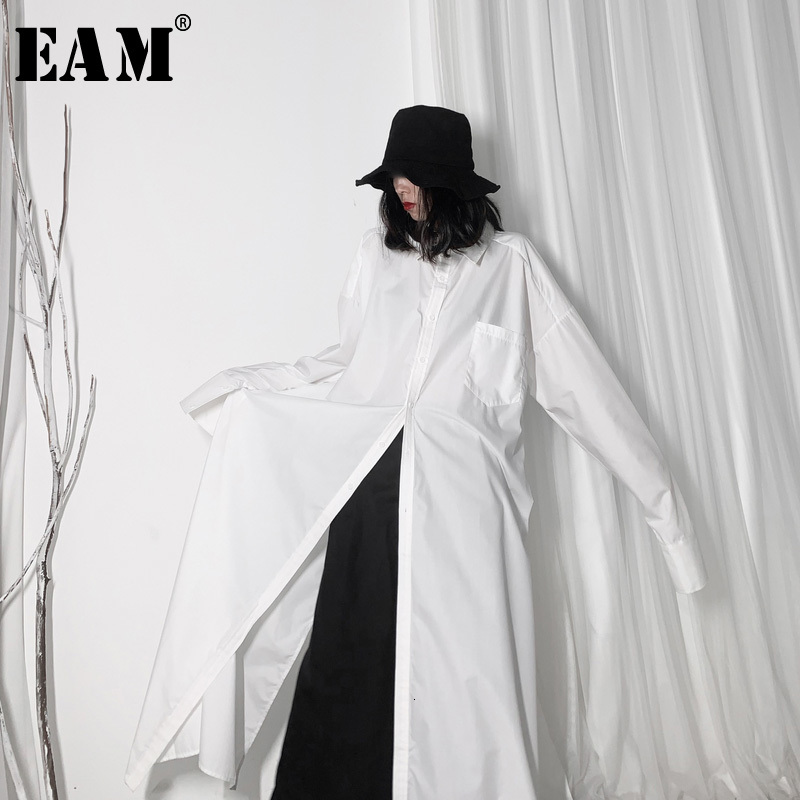 [EAM] Women White Vent Split Big Size Long Blouse New Lapel Long Sleeve Loose Fit Shirt Fashion Tide Spring Autumn 2020 19A-a606