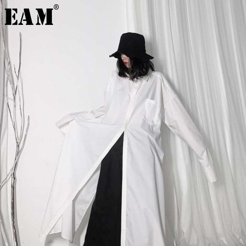 [EAM] Women White Vent Split Big Size Long Blouse New Lapel Long Sleeve Loose Fit Shirt Fashion Tide Spring Autumn 2020 19A-a606