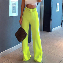 2019 Summer Neon Yellow Pants Fashion Neon Yellow Wide