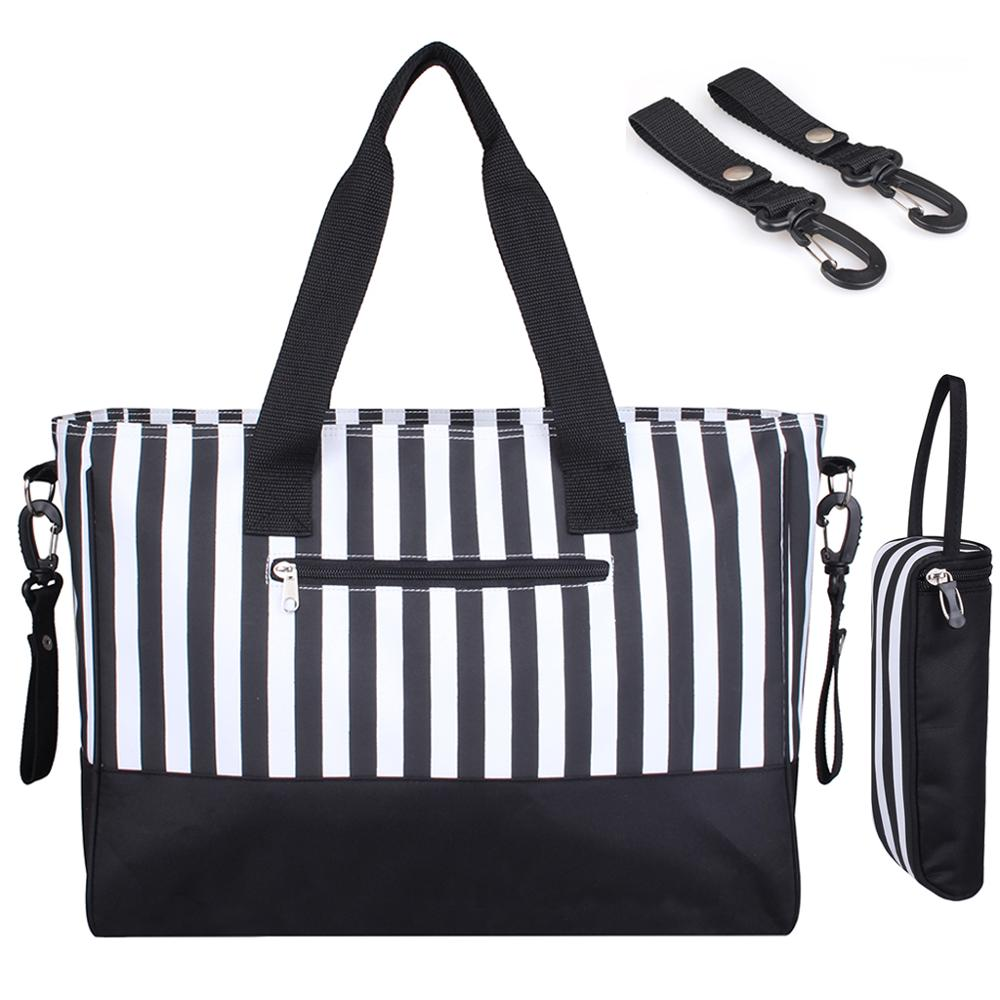 One-shoulder Hand Carry Striped Baby Diaper Bag Mother Mommy Changing Nappy Bag Maternity Bags For Mom Travel Stroller Organizer