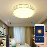 Luz de techo de cristal inteligente  con Control por voz por Wifi  para sala de estar y dormitorio  lámpara LED de techo con atenuación
