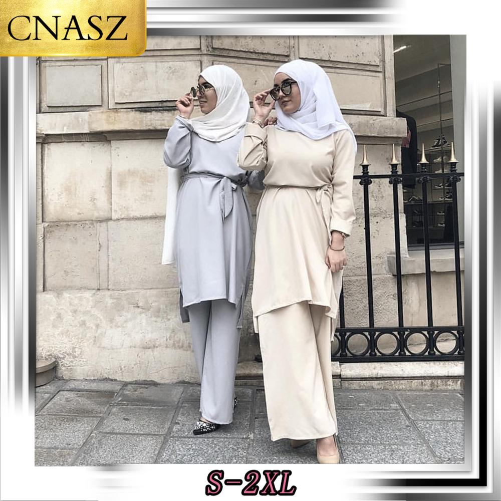 2019 New Fashion Simple Fresh Muslim Lace Suit Turkish Marocain  Abayas For Women  Hijab Clothes Islamic Long Shirt Pants Set