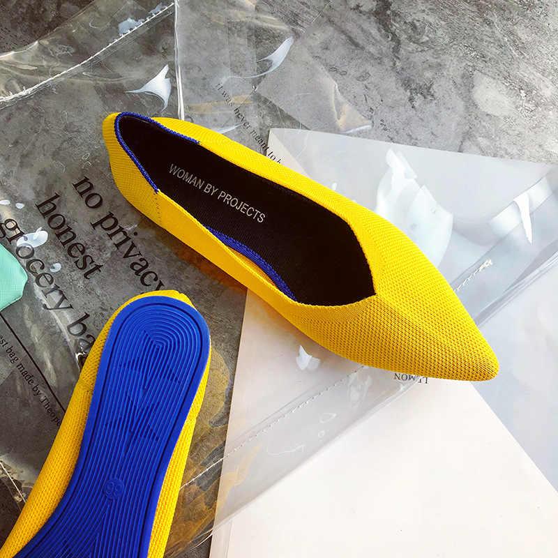 Lüks ayakkabı kadın tasarımcıları düz ayakkabı nefes örgü Loafer üzerinde kayma sivri burun sığ kadın rahat Oxford ayakkabı P017