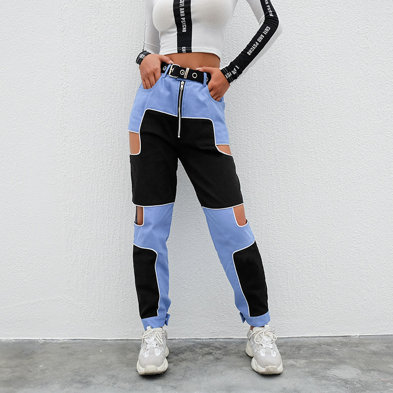YYXZ Fashion Slim Contrast Color Patchwork Denim Hollow Out SML High Waist 2 Colors Woman Casual Jeans Lady Denim Pants