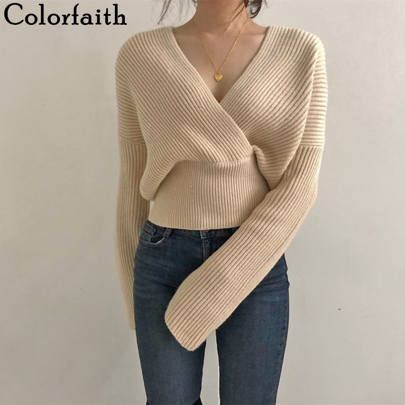 Colorfaith New 2019 Autumn Winter Women Sweaters Knitting V-neck Cross Wild Fashionable Sexy Pullovers Female Lady Tops SW7777
