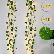 2m Leaf Ivy String Lights Vine Garland Wreath Hanging With lamp Fairy Night Light Home Wedding Birthday Party Garden Decoration