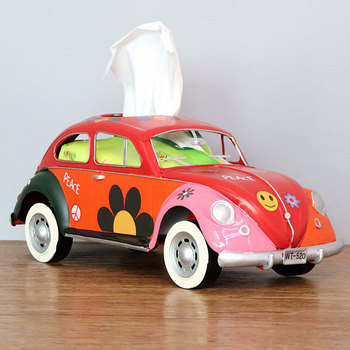 Flower Retro Iron Bus Tissue Box Model Figurines Car Craft Home Decoration Accessories for Living Room Ornaments for Home Decor 14