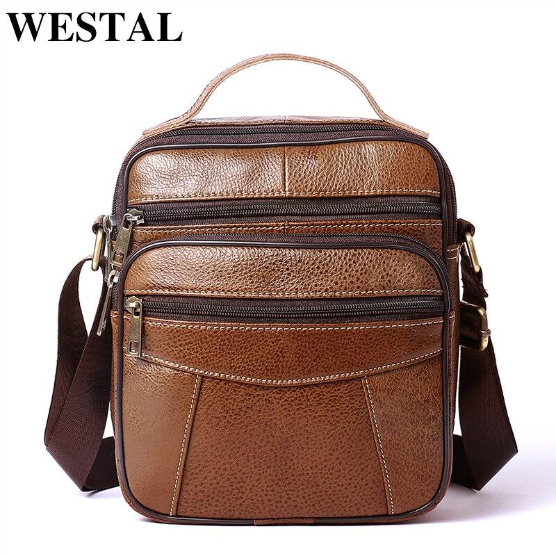 WESTAL Genuine Leather Messenger Bag Men Shoulder Bag Leather Men Small Flap Bags Casual Crossbody Bags For Men Handbags 8318