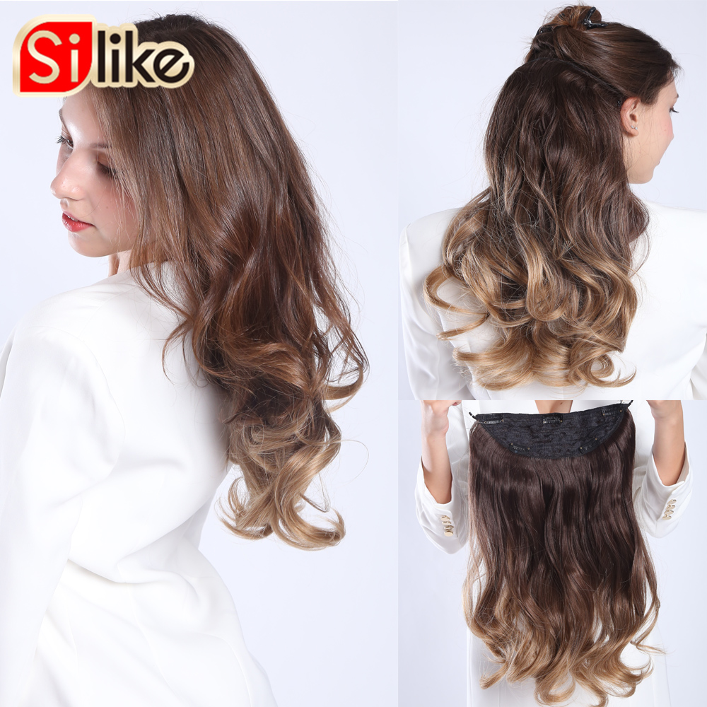 Silike 18 Inch Fish Line Hair 9 Clips Wavy Long Heat Resistant Synthetic Invisible Wire Three Hairpieces For Women