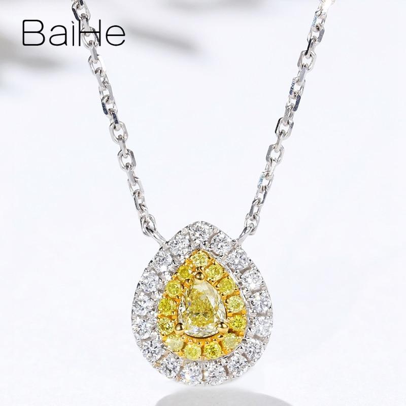 Baihe sólido 18 k ouro branco total 0.28ct h/si pêra + diamantes naturais redondos + diamantes amarelos mulheres na moda presente de casamento colares - 2