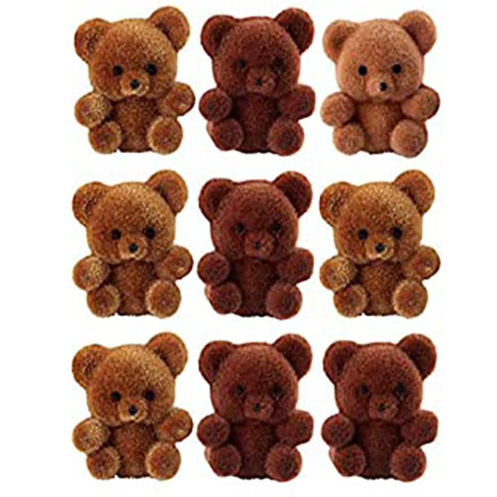 Package Of 24 Flocked Teddy Bears Pendants Keychains Tiny Bears Doll Pendants  For DIY Necklace  Earring Jewelry Supplies