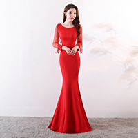 fashion Beaded Elegant Evening Dress Long Sleeve Formal party Dresses Slim fit mermaid long evening Gowns vestido de festa