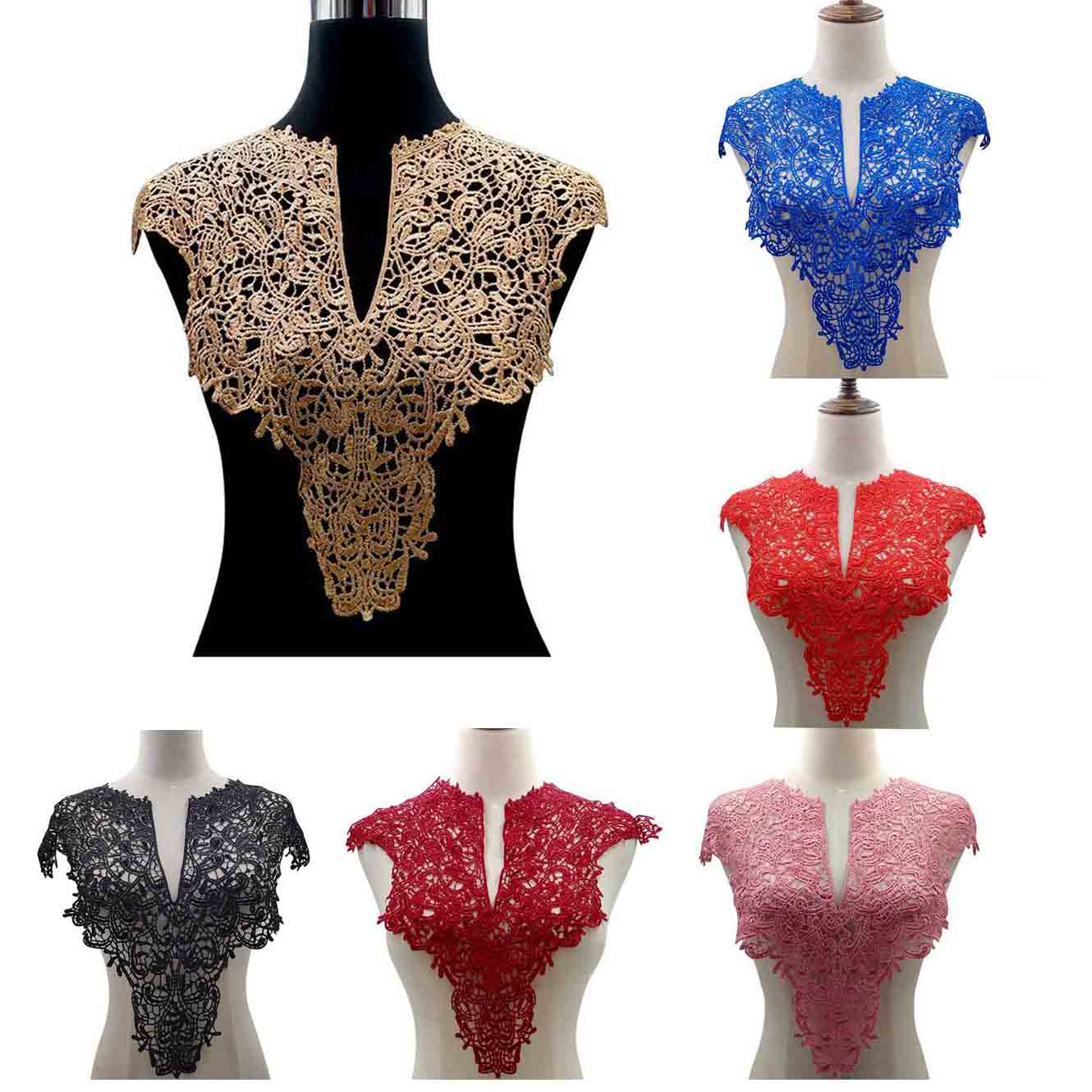 "7 Color ""Front Collar+Back Collar"" Craft Venise Sequins Floral Embroidered Applique for DIY Costume Decoration Accessories-in Lace from Home & Garden"