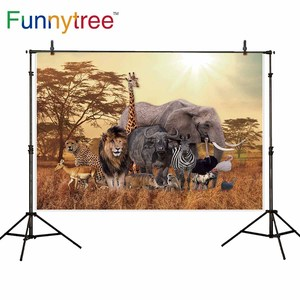 Image 3 - Allenjoy photophone background Wild animals safari zoo forest  lion king backdrop for photography Birthday Baptism photobooth