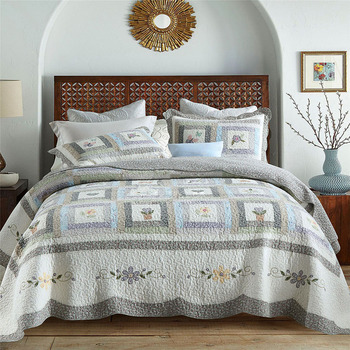 CHAUSUB Patchwork Bedspreads Quilt Set 3pcs Cotton Quilts For Bed Cover Super King Size Applique Coverlet Handmade Blanket luxury silky bedspreads quilt set 3pc 60s egyptian cotton quilts for bed embroidered bed cover pillowcase king coverlet chausub