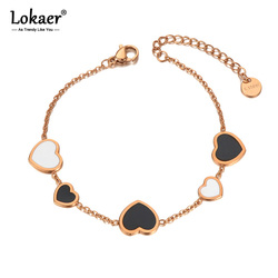 Lokaer Stainless Steel White/Black Glaze Heart Charm Bracelets For Women Trendy CZ Crystal Chain & Link Bohemia Jewelry B20101