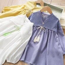 Весеннее платье для девочек; плиссированное платье принцессы с бахромой и бантом; коллекция 2020 года; сезон весна