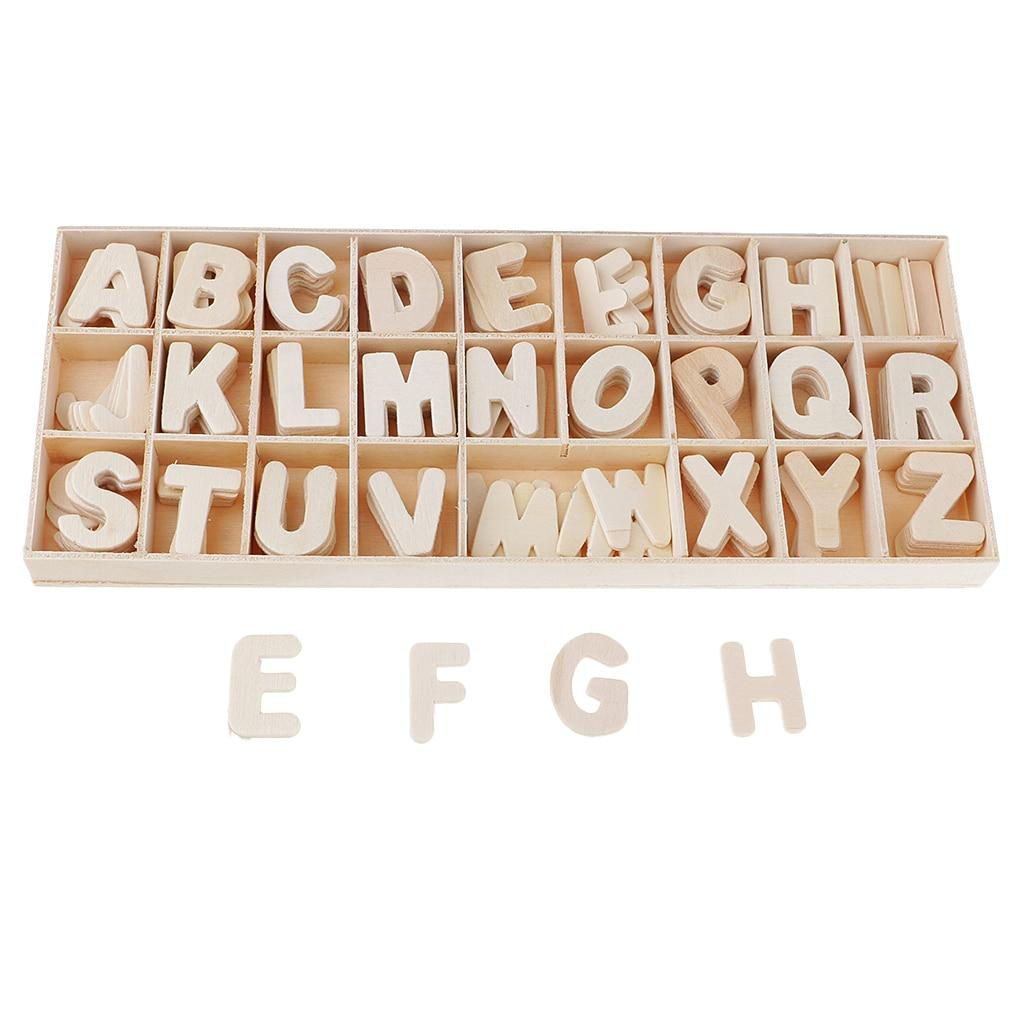 piezas para manualidades decoraci/ón bricolaje letras de alfabeto pantallas 52 piezas letras may/úsculas de madera