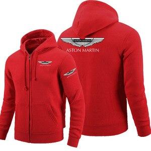 Winter autumn long-sleeved zipper hoodies Aston Martin zipper sweatshirt clothes man solid coat tops jackets(China)