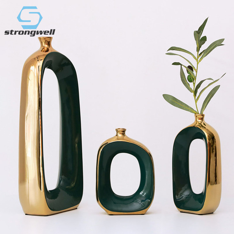 25.59US $ 45% OFF Strongwell Nordic Luxury Abstract Ceramic Vase Modern Desk Hydroponics Flower Vase...