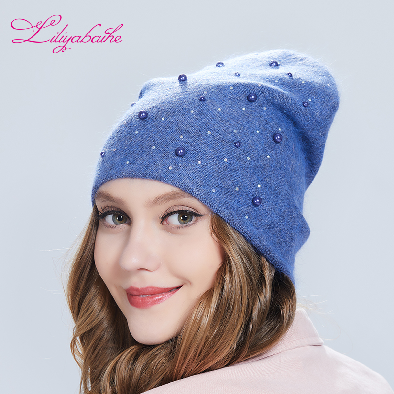 Liliyabaihe New Hat Women Autumn And Winter Hat With Angora Knitted Colored Full Stones Warm Hats For Girls