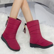 Kobiet buty 2019 kobieta ciepłe zimowe buty z futrem kobiet buty zimowe wodoodporne buty ciepłe połowy łydki śnieg buty Botas Mujer buty kobieta tanie tanio KUIDFAR Flock Slip-on Stałe B01125 Pasuje prawda na wymiar weź swój normalny rozmiar Okrągły nosek Zima Kliny Buty śniegu