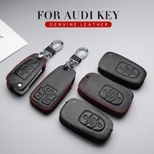 Автомобильный Дистанционный ключ чехол для Audi A3 A4 B9 A5 A6 C5 C6 A7 A4L A6L A8L Q3 Q5 Q7 R8 TT 8S S5 S6 S7 S8 кожаный чехол для ключей брелок для ключей, пульта сигнализации