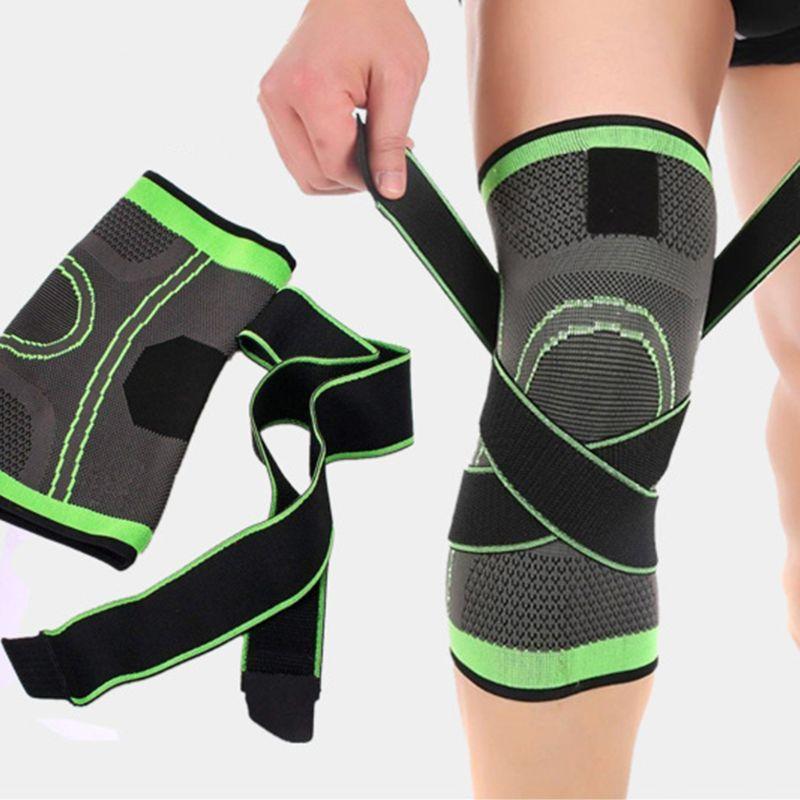Men women joelho suporte mangas de compressão dor articular alívio artrite correndo fitness elástico envoltório cinta joelheiras com alça