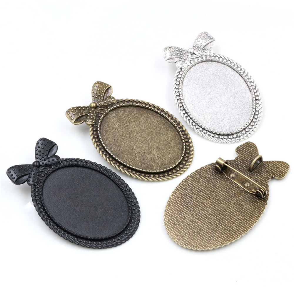 New Fashion  5pcs 30x40mm Inner Size Antique Silver Plated Bronze And Black Pin Brooch Bow-knot Style Base Setting Pendant Tray