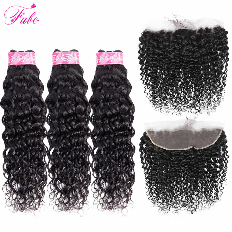 FABC Hair Malaysian Water Wave Bundles With Frontal 13x4 Lace Non Remy Human Hair 3 Bundles Natural Black Free Shipping