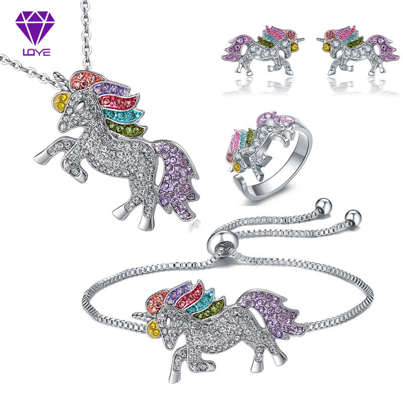 Cartoon Colorful Unicorn <font><b>Necklace</b></font> <font><b>Earrings</b></font> <font><b>Bracelet</b></font> Set Valentine's Day Gift Jewelry image