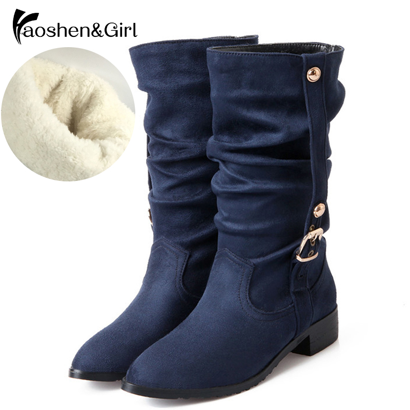 Heels Women Boot Half-Snow-Boots Riding Warm Autumn Winter Big-Size Botas 28-52 Girl