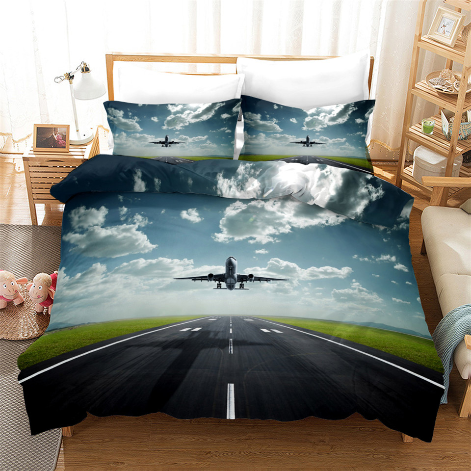 Airplane Duvet Cover Set Sky Space Print Kids Bedding King Queen Size Bedcloth 3D Bed Covers For Teenagers Single Double