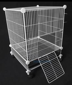 Image 3 - הכלוב עבור לחיות מחמד עבור כלב הולם עבור חתול שתן קערת לול כלוב מוצרים אבטחת שער עבור ארנב עם גלגלים
