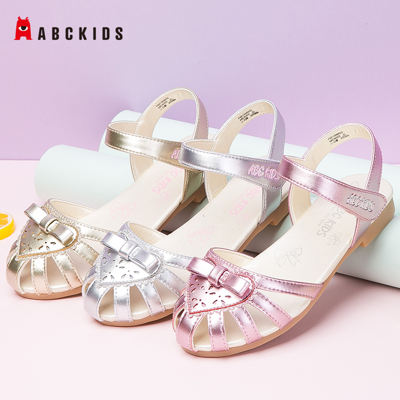ABCkids Princess Kids Heart Leather Shoes For Girls Fashion Bownot Sandals Casual Glitter Children Girls Summer Shoes P82135665D