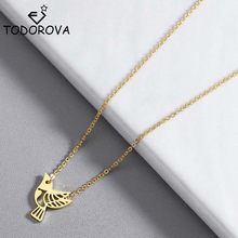 Todorova Origami Dove Bird Necklace Women Stainless Steel Peace Jewelry Stainless Steel Rose Gold Animal Necklaces Girls Gift(China)