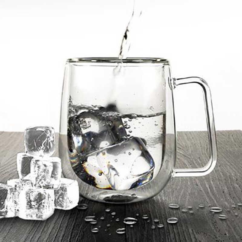 Kreatif Transparan Isolasi Tahan Panas Dinding Ganda Kaca Cangkir Kopi Kaca Mug Buatan Tangan Teh Wiski Gelas Bir Air Minum