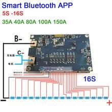 5S כדי 16S חכם Bluetooth 40A 80A 100A 150A ליתיום Lifepo4 LTO סוללת ליתיום הגנת לוח BMS איזון 6S 7S 8S 10S 12S 14S