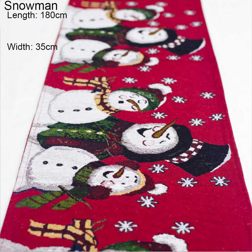 새로운 180cm x 35cm 크리스마스 엘크 눈사람 테이블 러너 메리 크리스마스 장식 홈 크리스마스 장식품 새해 플레이스 매트
