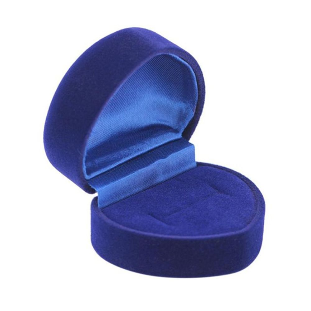 New Blue Ring Box Jewelry Display Storage Foldable Case For Wedding Ring Valentine's Day Gift Organizer Heart Ring Storaage Case