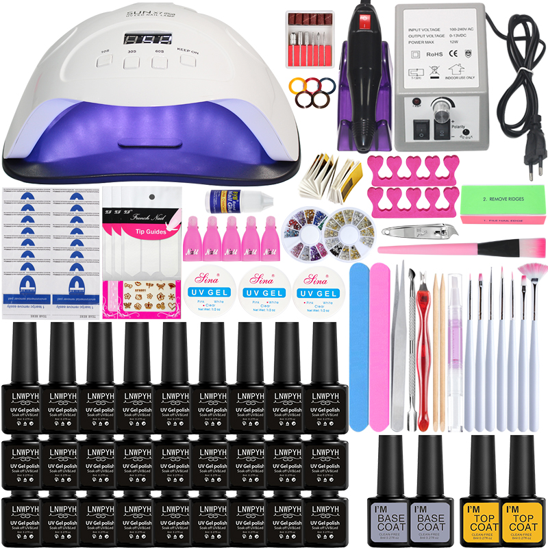 Manicure Set For Nail Kit With 84w/54w/24w LED Nail Lamp Of Electric Nail Drill  Nail Gel Polish Kit Nail Art Tools Nail Set