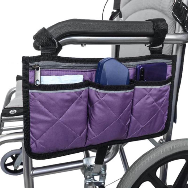 Портативная сумка для хранения с боковым карманом для инвалидной коляски, подходит для аксессуаров мобильного оборудования, подходит для б...