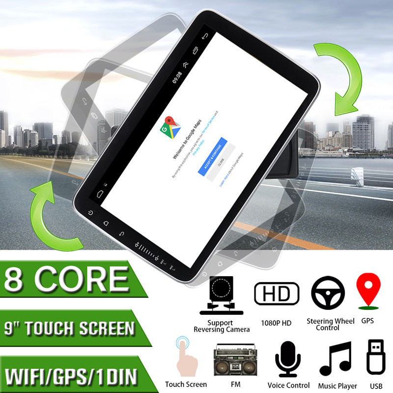 9 polegada gps navegação android 8.1 rádio do carro multimídia jogador para toyota corolla/passat/polo/golf/skoda/seat 1 din rádio estéreo