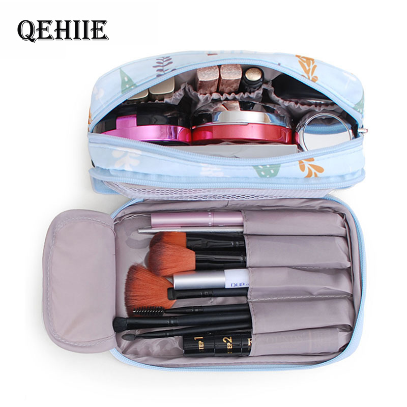 Cute Girl Professional Travel Small Makeup Bag Double Waterproof Cosmetic Bag Fashion Beautician Organizer Toiletry Makeup Pouch