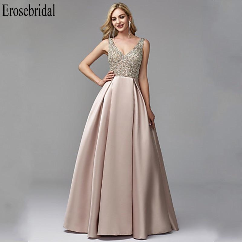 Erosebridal Women Evening Dress 2019 Formal Dresses Evening Gown A Line Satin Elegant Party Gowns Beaded Bodice